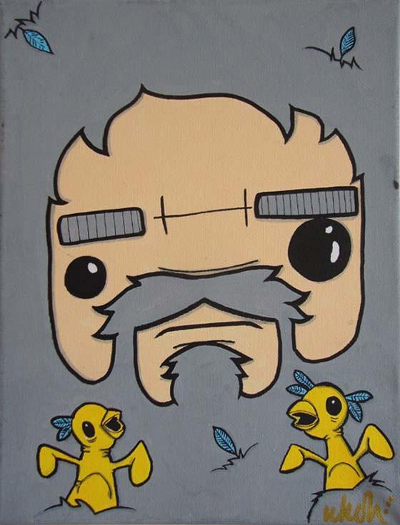 graffitis sobre lienzo