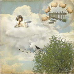 ~ Counting Sheep ~ (Denise Purrington {{say hello to my Little Bears:)) Tags: sleeping sky tree girl birds clouds vintage fence children rocks child treasure sheep artistic path stones antique chest dreaming layers crow ches artisic oracope magicunicornverybest magicunicornmasterpiece