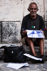 artist of havana (flamed) Tags: poverty travel portrait pencils painting bag sketch artist drawing country havana cuba poor creative papers draw pens skint