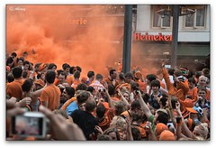 Party Orange Smoke in the Pause in the Final ,Groningen stad, the Netherlands,Europe (Aheroy(2Busy)) Tags: city orange holland art netherlands dutch architecture fun town europe colours different arts nederland surreal hallucination groningen pause stad supporters beautifull fifaworldcupsouthafrica2010 poeleplein aheroy aheroyal orangesupporters