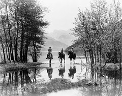 Three Riders at Cameron Bay in Waterton Lakes ...