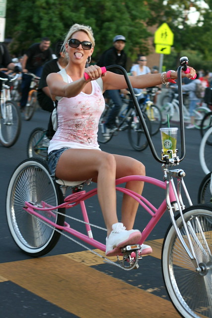 girl tight short shorts blond bicycle