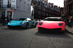 Double the noise. (Alex Penfold) Tags: pink summer two colour london cars alex sports car canon photography eos photo cool bright image turquoise awesome 4 picture fast super harrods exotic photograph lp lamborghini supercar sv exotica svs 2010 combo   murcielago 670 arabs penfold     knightbridge     450d     hpyer  lp6704 lp670