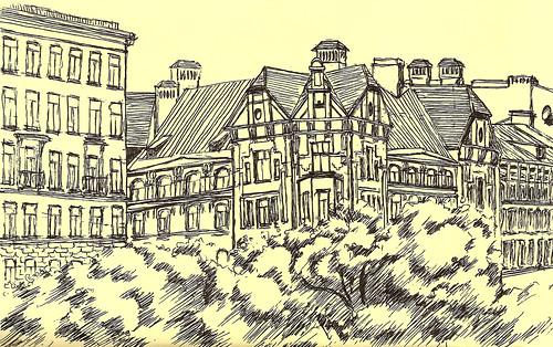 Архитектурные линейные рисунки