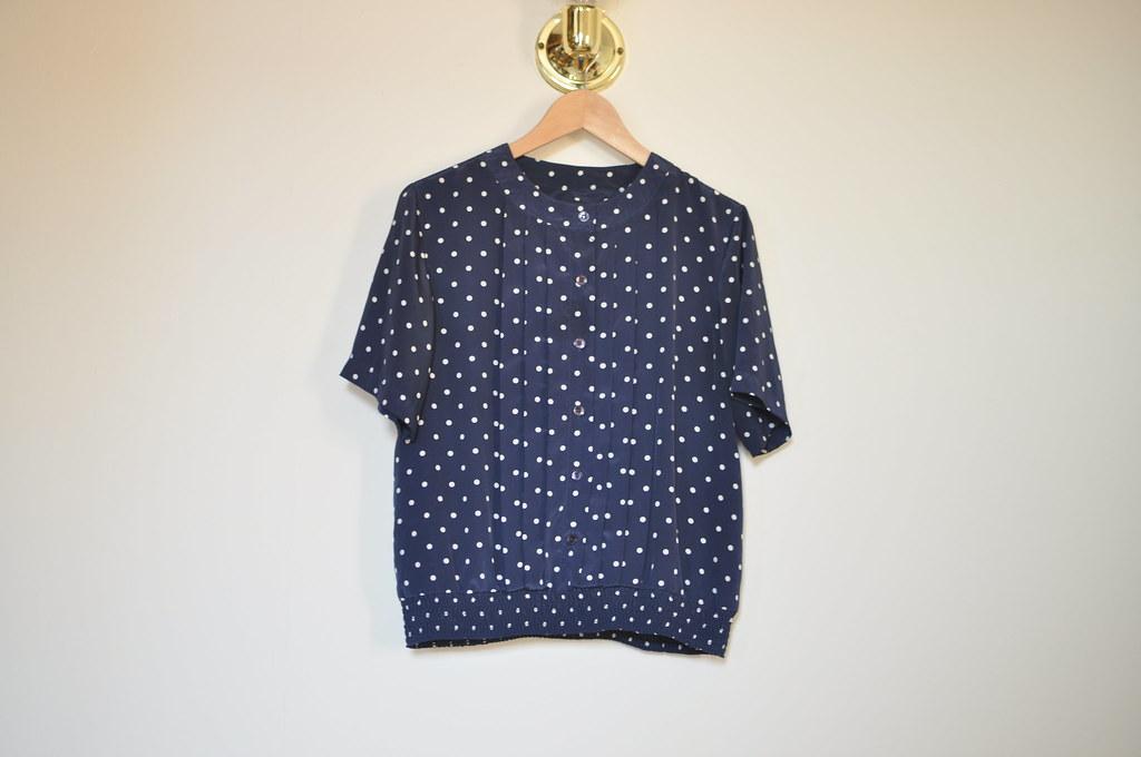 vintage polka dot blouse
