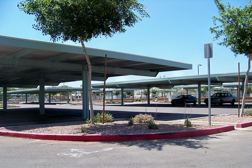 Shaded park and ride lot