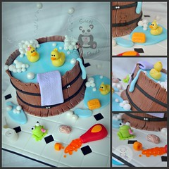 Barrel Cake, Collage (Sweet Pudgy Panda) Tags: water cake bathroom wooden soap bath barrel ducks bubbles towel frog shampoo tiles ducky tub toiletpaper duckies fondant gumpaste