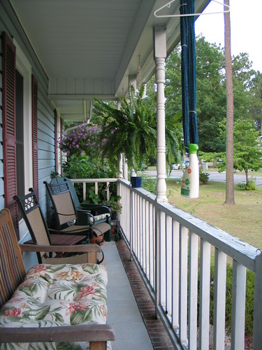 New chairs and table on porch
