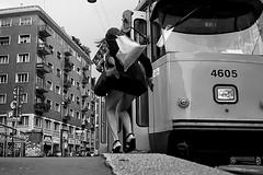 ......*** (31) (Donato Buccella / sibemolle) Tags: blackandwhite bw milano streetphotography tram lowangle fromtheground corsogenova canon400d sibemolle fotografiastradale mg64133 inattesadelnuovograndangolo cosciamuscolosaerotica