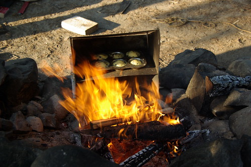blueberry muffins, campfire, reflector oven