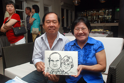 caricature live sketching for David & Christine wedding dinner - 22