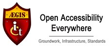 Aegis project logo: Open accessibility everywhere - groundwork, infrastructure, standards