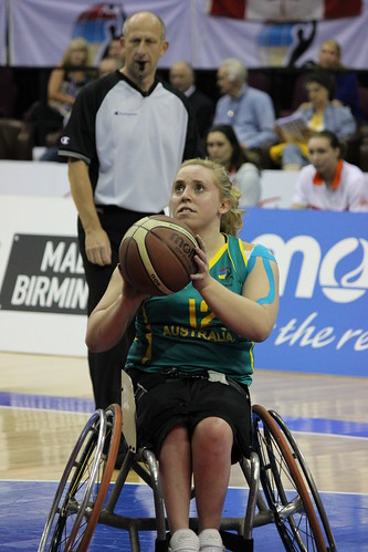 2010 WWBC: An Australian wheelchair basketball athlete goes for a shot.