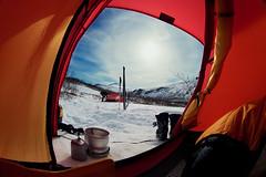 View form Staika (Timo Vehvilinen) Tags: door winter red sky snow sweden tent fisheye kebnekaise trangia akto peleng hilleberg staika