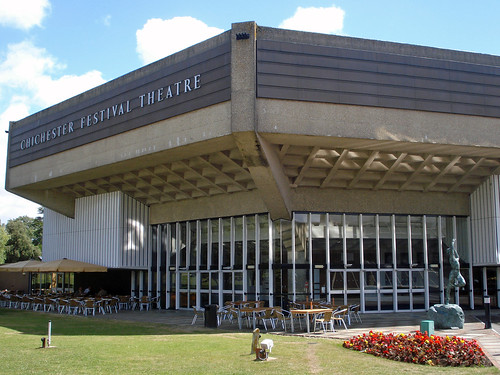 Chichester Festival Theatre. Stark 1960s concrete on the outside, flagship regional theatre on the inside 2011