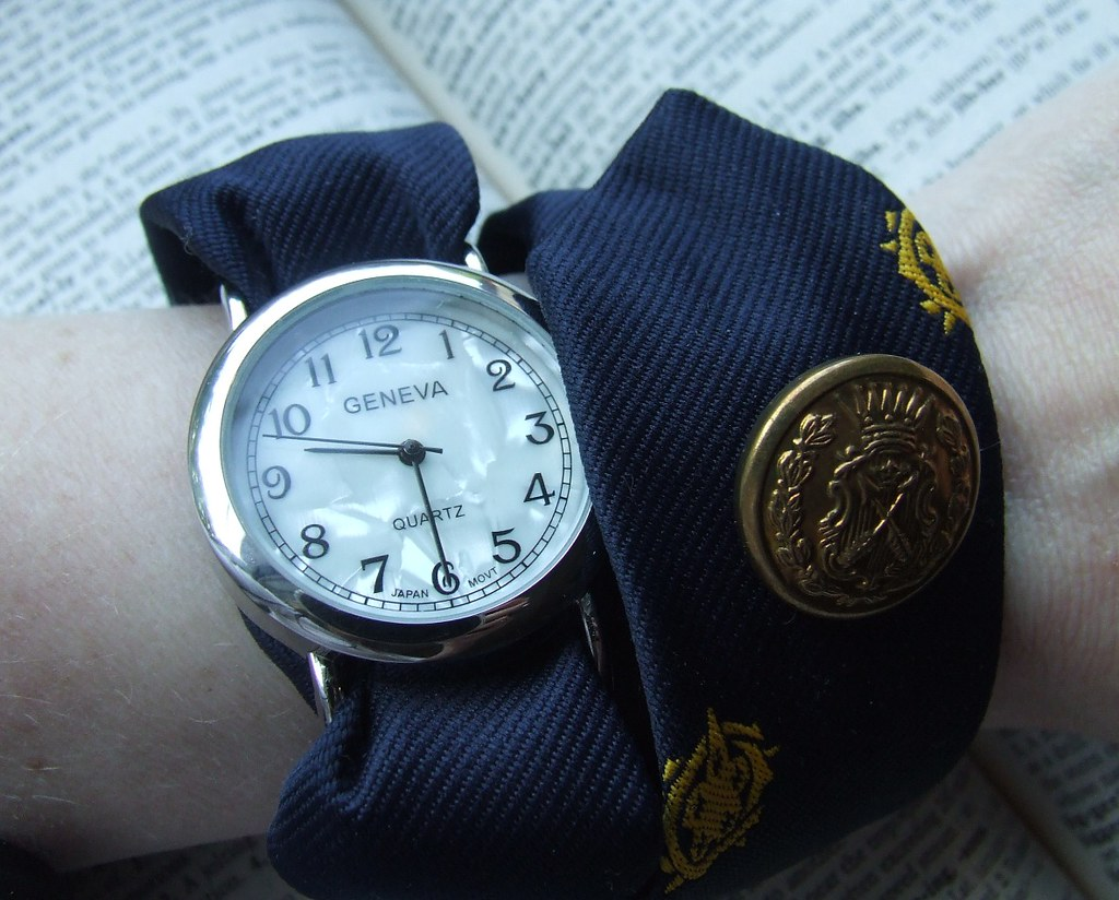 Navy Blue and Gold Nautical Necktie Watch Wrap (sold)