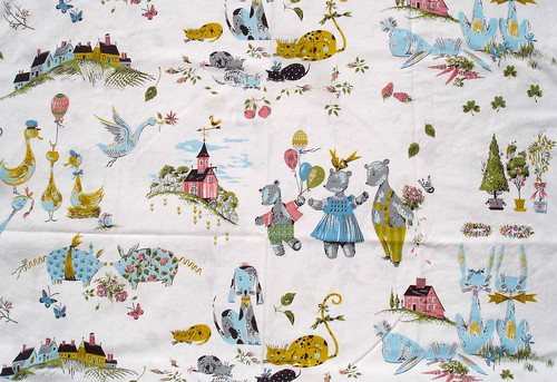 vintage fabric - bears, rabbits, pigs, dogs, in mustard, baby blue, pink, and green