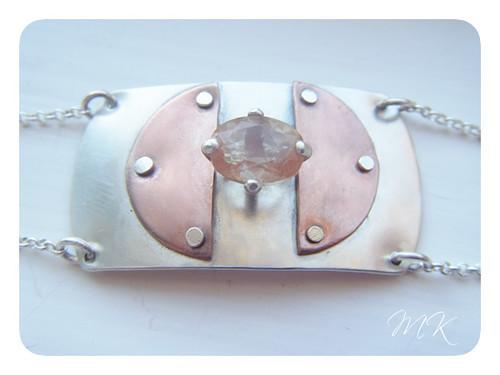 Andesine Labradorite Riveted Bracelet 1
