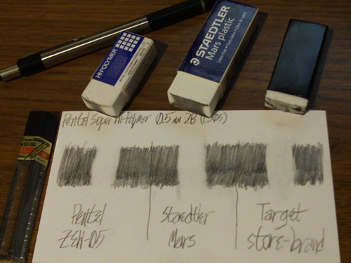 Comparison with 2B lead. The ZEH-05 is dirty in the middle; the Staedtler Mars is about equally dirty over a larger surface; the Target store-brand eraser is about as dirty as before.