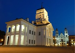 Minsk Town Hall & Cathedral - i - , Belarus (Sir Francis Canker Photography ) Tags: city trip travel blue light sunset panorama woman tourism monument colors girl architecture night square landscape town hall nice arquitectura women exposure downtown view shot dusk monumento capital landmark visit icon tourist best chick communist communism hour vista nocturna socialist cis belarus independence visiting minsk mairie ussr ayuntamiento libertysquare urss lucena catherdal arenzano  comune miensk   brusasco  biearu   sirfranciscankerjones i   tz10 zs7     pacocabezalopez