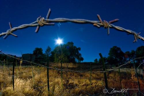 alambrada de noche