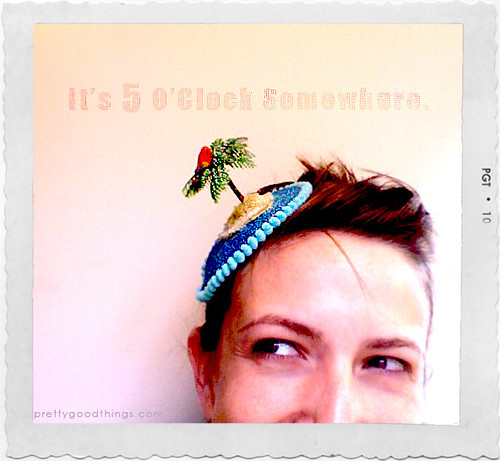 It's 5 o'clock somewhere parrot head fascinator