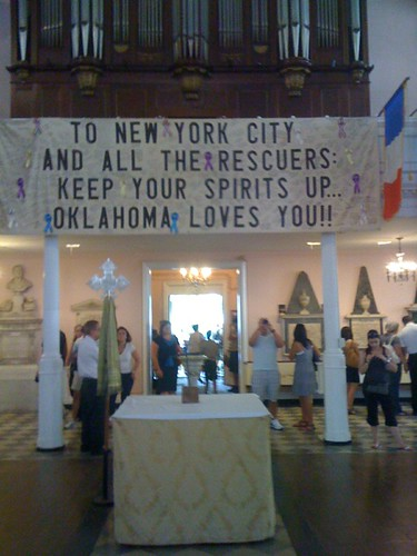 Image of Oklahoma banner at New York's St. Paul's Chapel