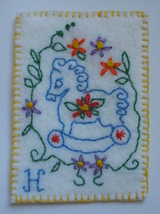 H is for Horse ATC (Pictures by Ann) Tags: flowers horse flower art wool floral atc artisttradingcard book colorful artist handmade embroidery craft felt hobby h card trading letter alphabet embroidered equine hisforhorse