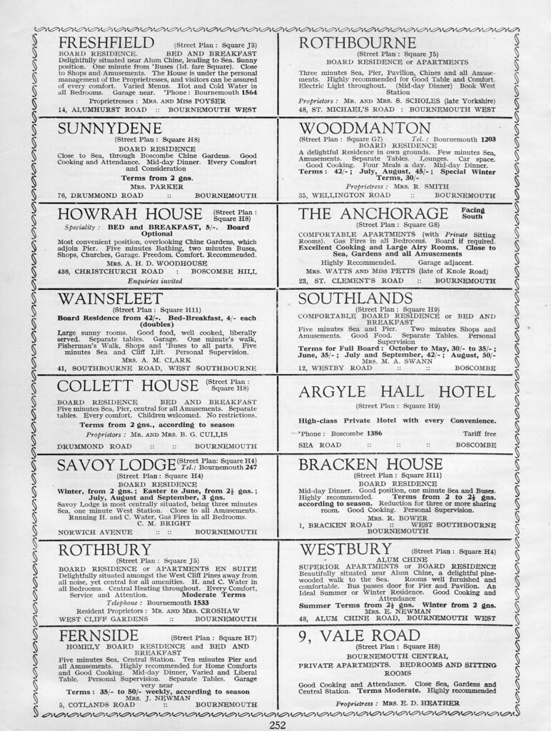 1938 Bournemouth Guide page 252