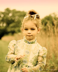 (Rebecca812) Tags: trees sunset portrait sky cute girl beautiful grass vintage outside costume kid eyes pretty child hand dress sweet daughter naturallight m ribbon ponytail hay pigtails quuenanneslace canon5dmarkii freecoffeeshopactions familygetty2010 rebecca812
