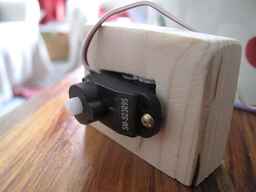 Servo mounted in wooden block