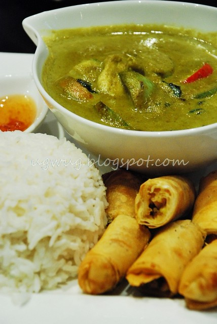 Vegetable Spring Rolls, Green Curry Chicken & Rice
