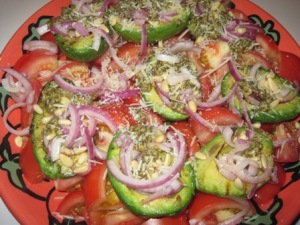 Grilled Tomato Avocado Salad