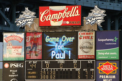 What Does This Mean? (Harpo42) Tags: summer paul death weird baseball camden nj professional announcement gameover questionable scoreboard minorleague southjersey unsure 2010 atlanticleague riversharks july31 campbellsfield