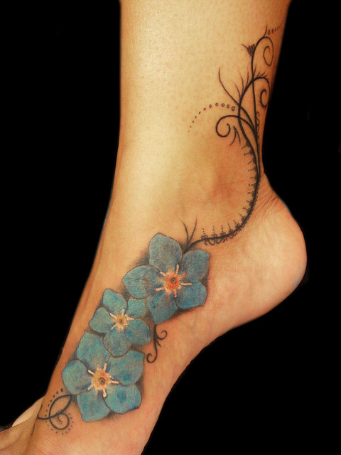 "Organic Pattern and ""Forget me not"" flowers tattoo. Miguel Angel"