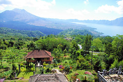 Looking Out to The Volcano (cwgoodroe) Tags: new old school summer bali sun stone kids children indonesia rice statues agriculture mountians patties riceterraces ubud seminyak batubulan