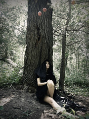 Gazing. (Kristi Frzier) Tags: above tree apple girl forest wonder outside oak woods thought sitting looking grim think floating fairy thinking apples cloak ponder wonderland wondering tale guardian protector pondering hovering levitating cloaked hooded