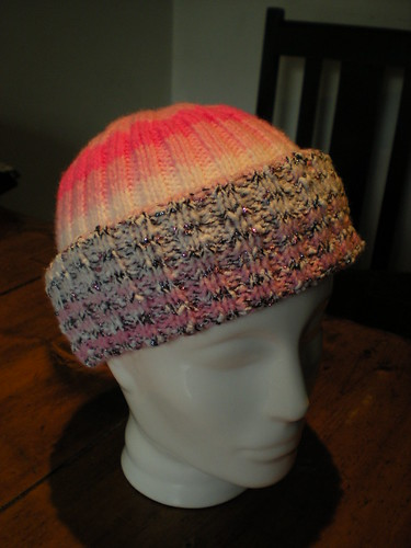 Knitted hat on stand
