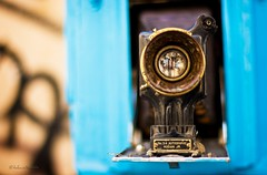 no. 3A autographic kodak jr. (helen sotiriadis) Tags: old blue black macro reflection closeup canon lens gold published dof kodak bokeh antique athens depthoffield greece foldingcamera canonef50mmf14usm monastiraki canoneos40d no3aautographickodakjr updatecollection