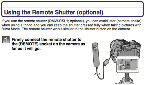 Using the Panasonic DMW-RSL1 cable shutter release remote control, as documented on page 207 of the Panasonic FZ100 Manual