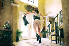 rush hour (leslie.june) Tags: lighting door house girl jump gritty textures staircase jackets grungy antigravity levitating paused lesliejunephotography