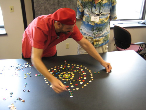 Jim creating a button mandala