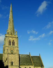 Church Spire (KJGarbutt) Tags: blue sky building history church architecture clouds buildings square photography university durham market unitedkingdom sony cybershot spire uni kurtis northeast sonycybershot dur durhamcathedral garbutt kjgarbutt kurtisgarbutt kurtisjgarbutt kjgarbuttphotography