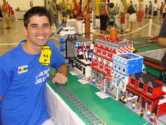 Jamie Berard in front of My MOCs at Brick Fair 2010 (notenoughbricks) Tags: jamie lego bookstore brickfair berardmodular townpages