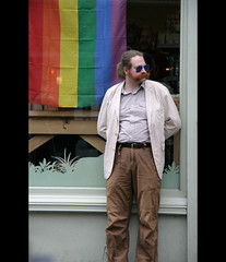 proud of my tash (Nat Nunn) Tags: beard brighton candid flag gaypride rainbowflag poeple thelanes tash