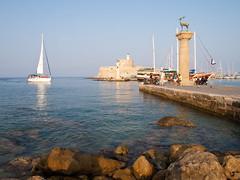 Mandraki Harbour, Rhodes (1) (Gauss2) Tags: sea port harbor harbour hellas olympus greece rodos rhodes mandraki e520
