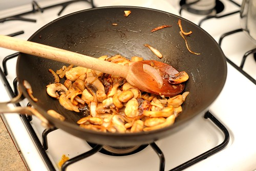 sauteeing mushrooms & onions