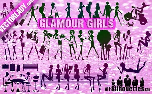 Click en la imagen para descarga 33 Siluetas en formato vector - Mujeres con glamour