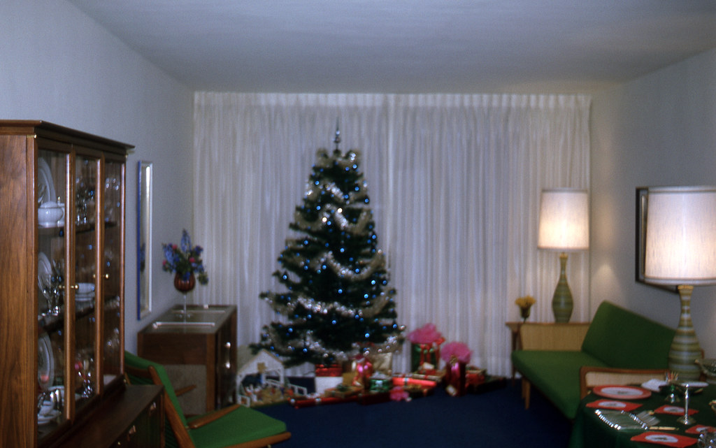 The Christmas tree in the living room, 1964
