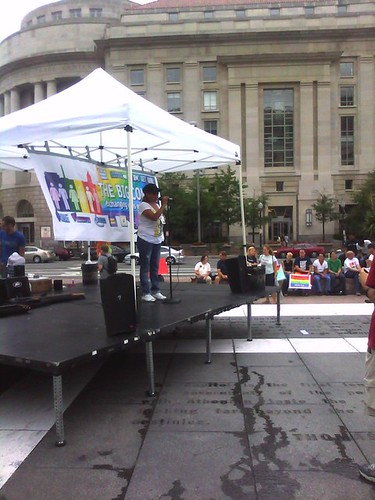 Phyllis Lozano speaking at the Freedom Plaza rally